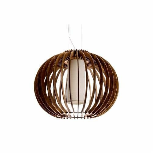 Pendente Accord Iluminação Stecche Di Legno Aramado Madeira Natural 37x47cm 1x E27 110v 220v Bivolt 1134 Sala Estar Hall