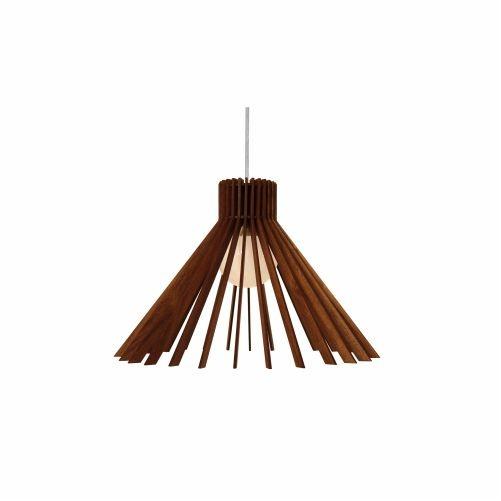 Pendente Accord Iluminação Stecche Di Legno Cônico Madeira Natural 27x38cm 1x E27 110v 220v Bivolt 1184 Sala Estar Cozinhas