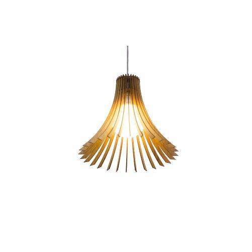 Pendente Accord Iluminação Stecche Di Legno Cônico Madeira Natural 30x35cm 1x E27 110v 220v Bivolt 1181 Sala Estar Cozinhas