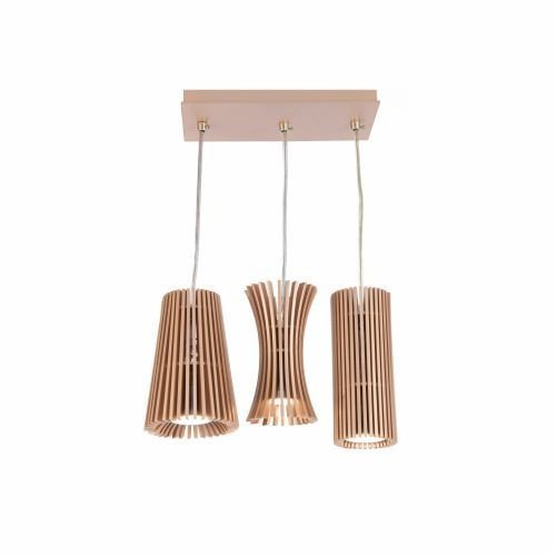 Pendente Accord Iluminação Stecche Di Legno Conjunto Madeira Natural 22x25cm 3x GU10 LED 1282 Sala Estar Cozinhas