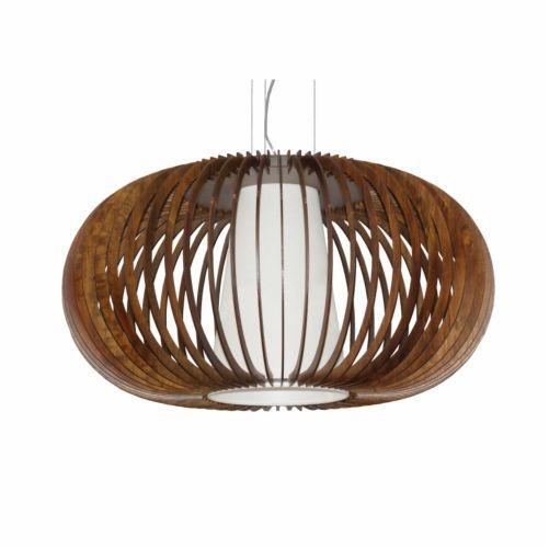 Pendente Accord Iluminação Stecche Di Legno Oval Madeira Natural 25x47,5cm 1x E27 110v 220v Bivolt 1217 Sala Estar Cozinhas