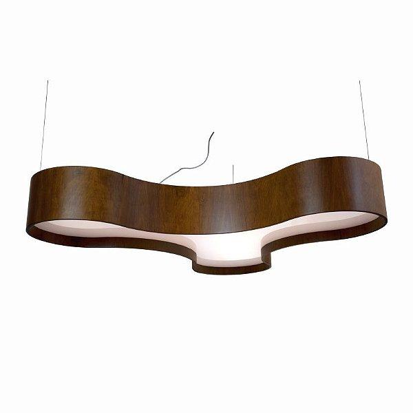 Pendente Accord Iluminação Trevo Organica Curvas Madeira Natural 20x120cm 6x E27 110v 220v Bivolt 1222 Mesa Jantar Sala Estar