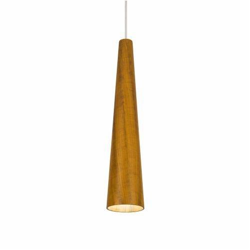 Pendente Accord Iluminação Tubo Cônico Suspenso Madeira Natural 50x10cm 1x E27 110v 220v Bivolt 1276 Mesa Jantar Balcões