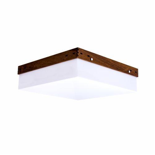 Plafon Accord Iluminação Cachepô Clean Sobrepor Quadrado Madeira Natural 12x50cm 4x E27 110v 220v Bivolt 566 Sala Estar Quartos