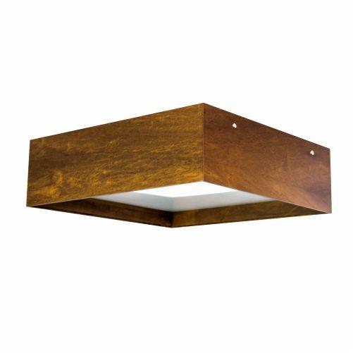 Plafon Accord Iluminação Clean Aberto Quadrado Sobrepor Madeira Natural 20x70cm 6x E27 592 Sala Estar Hall