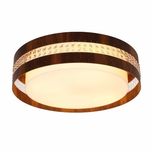 Plafon Accord Iluminação Cristais Cilindro Redondo Madeira Natural 15x60cm 4x E27 110v 220v Bivolt 5026 Sala Estar Entradas