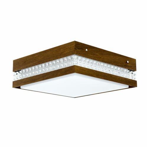 Plafon Accord Iluminação Cristais Quadrado Acrílico Madeira Natural 15x35cm 2x E27 110v 220v Bivolt 5046 Sala Estar Quartos