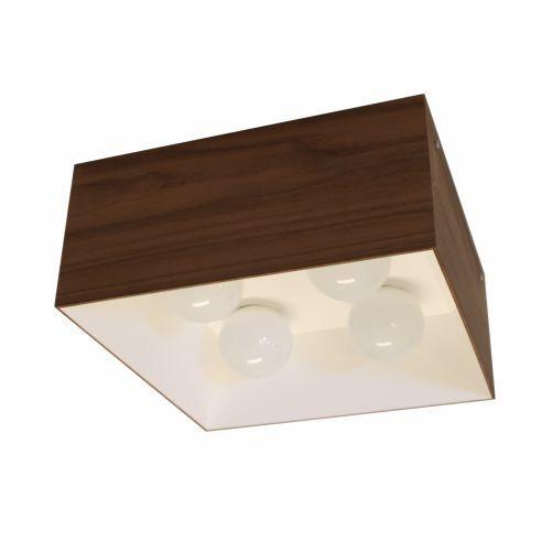 Plafon Accord Iluminação 1/2 Squadro Alto Quadrado Madeira Natural 18x40cm 4x E27 110v 220v Bivolt 5062 Sala Estar Quartos