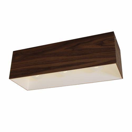 Plafon Accord Iluminação 1/2 Squadro Alto Retangular Madeira Natural 18x60cm 3x E27 110v 220v Bivolt 5061 Sala Estar Quartos