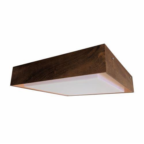 Plafon Accord Iluminação 1/2 Squadro II Sobrepor Cobre Madeira Natural 13x50cm 4x E27 110v 220v Bivolt 586CO Sala Estar Hall