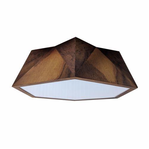 Plafon Accord Iluminação Physalis Facetado Acrílico Madeira Natural 15x50cm 3x E27 110v 220v Bivolt 5063 Sala Estar Hall