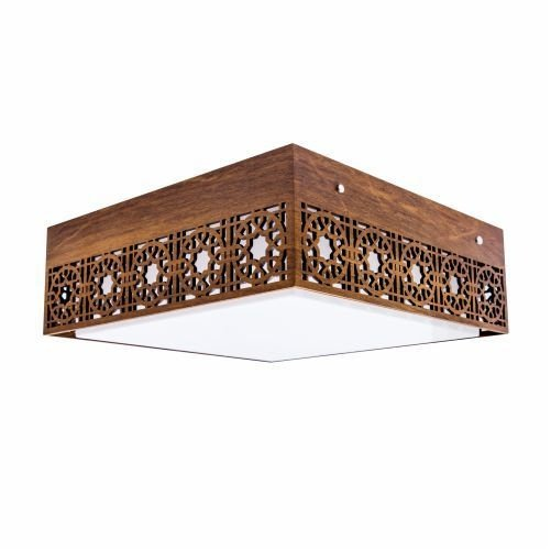 Plafon Accord Iluminação Star Sobrepor Quadrado Madeira Natural 15x65cm 4x E27 110v 220v Bivolt 5022 Quartos Sala Estar