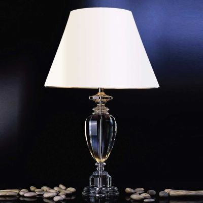 Abajur Bella Iluminação Classic Vidro Metal Cromo Cupula Ø51cm 1 E27 110v 220v Bivolt XL1210 Cabeceira Cama Criados Mudos