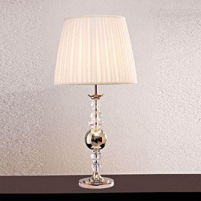 Abajur Bella Iluminação Classic Vidro Metal Cromo Cupula Ø59cm 1 E27 110v 220v Bivolt XL1468 Cabeceira Cama Criados Mudos