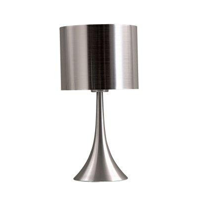 Abajur Bella Iluminação Conico Cupula Redonda Metal Escovado 41x21cm 1 E27 110v 220v Bivolt MH0790 Cabeceira Cama Mesa Jantar