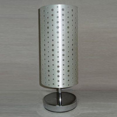 Abajur Bella Iluminação Cupula Tecido Prata Metal Cromo 35x14cm 1 E27 110v 220v Bivolt SL001A Cabeceira Cama Criados-Mudos