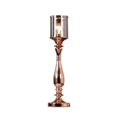 Abajur Bella Iluminação Cupula Tubo Vidro Metal Cobre 42x15cm 1 E27 110v 220v Bivolt JY001B Quartos Sala Estar