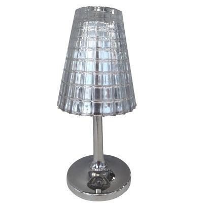 Abajur Bella Iluminação Cupula Vidro Linear Metal Cromo 25x12cm 1 G9 Halopin OP034C Balcões Cabeceira Cama