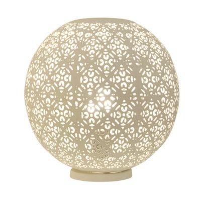 Abajur Bella Gaya Esfera Metal Branco 30x30cm  1 E27 Bivolt ABI0008PBR Mesas e Salas