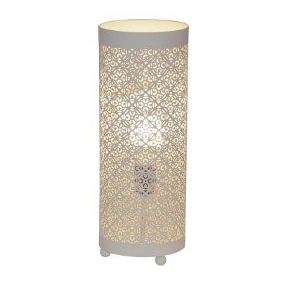 Abajur Bella Iluminação Gaya Tubo Metal Branco 40x18cm 1 E27 110v 220v Bivolt ABI0009PBR Mesa Jantar  Sala Estar