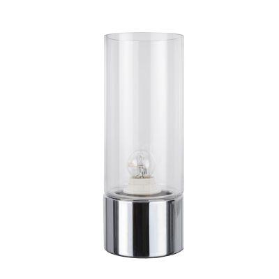 Abajur Bella Iluminação Moa Metal Cromo Vidro Translucido 31,5x12cm 1 E-27 110v 220v Bivolt CI013C Mesa Jantar  Sala Estar