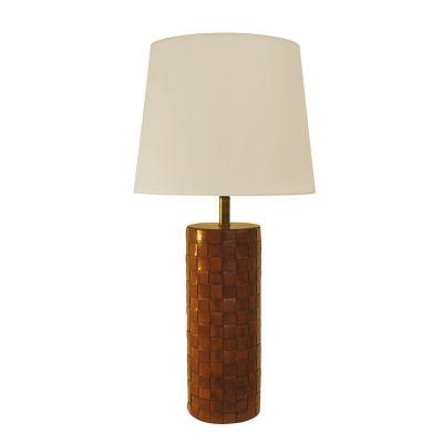 Abajur Bella Iluminação Satna Metal Couro Sintético Ouro Velho 59x19cm 1 E27 BAI0002MA Mesa Jantar  Sala Estar
