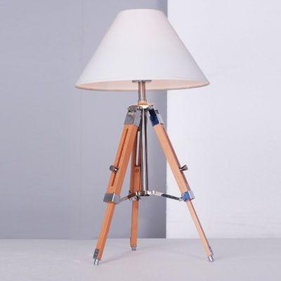 Abajur Bella Iluminação Tripé Ajustável Metal Cupula Madeira Natural 60x30cm 1 E27 110v 220v Bivolt EA008S Sala Estar Quartos