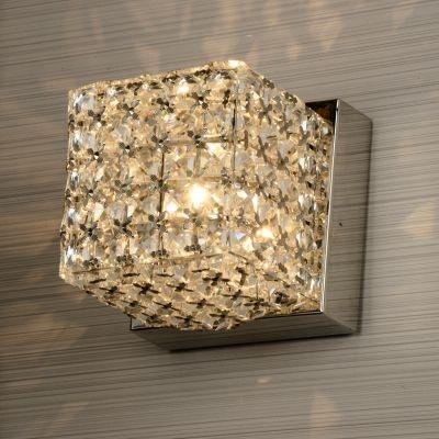 Arandela Bella Iluminação Acorde Quadrado Metal Cromo Cristal K9 Ø10cm 1 G9 Halopin 110v 220v Bivolt WA005 Sala Estar Quartos