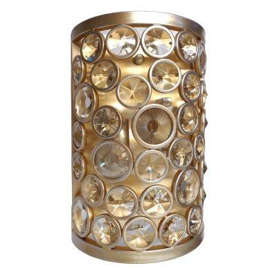 Arandela Bella Iluminação Champ Metal Ouro Velho Cristal K9 10x28cm 2 E14 40W 110v 220v Bivolt MR002 Corredores Saguão