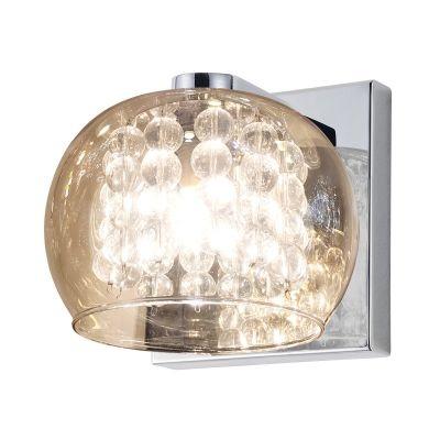 Arandela Bella Iluminação Esfera Metal Vidro Cristal K9 Âmbar 12x16cm 1 G9 Halopin 110v 220v Bivolt HO7616AM Corredores Sala Estar