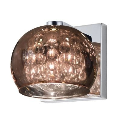 Arandela Bella Iluminação Esfera Metal Vidro Cristal K9 Cobre 12x16cm 1 G9 Halopin 110v 220v Bivolt HO7616CO Corredores Sala Estar