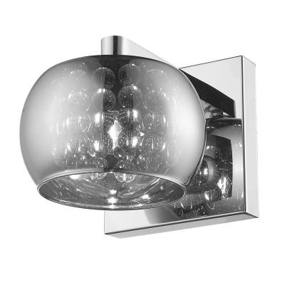 Arandela Bella Iluminação Esfera Metal Vidro Cristal K9 Translucido 12x16cm 1 G9 Halopin HO7616CR Corredores Sala Estar
