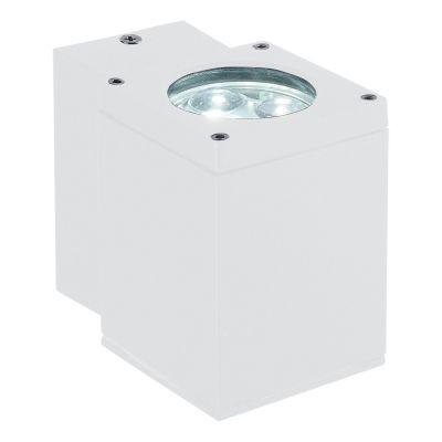 Arandela Bella Iluminação Externa Block Metal Branco 6x10cm 1 LED 3W 110v 220v Bivolt LX1031W Muros Jardins