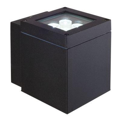 Arandela Bella Iluminação Externa Block Metal Preto 14,5x11cm 1 LED 4W 110v 220v Bivolt LX1051B Muros Jardins