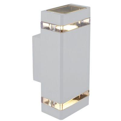 Arandela Bella Iluminação Externa Trace Metal Branco 26,5x10,5cm 2 GU10 Dicróica LX7192W Saguão Muros