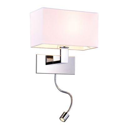 Arandela Bella Iluminação Leitura Cupula Tecido Metal Cromo 28x18cm 1 LED 1W /1 E27 110v 220v Bivolt ZU009B Mesa Jantar  Balcões