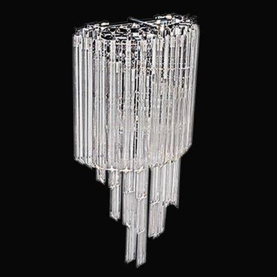 Arandela Bella Iluminação Opus Metal Cromo Cristal K9 Translucido 63x30cm 3 E14 110v 220v Bivolt BM007 Corredores Sala Estar