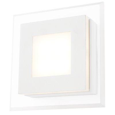 Arandela Bella Iluminação Pip Quadrada Metal Acrílico Branco 5,5x17,5cm 1 LED 4W 110v 220v Bivolt MG007B Quartos Sala Estar