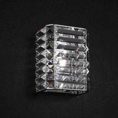 Arandela Bella Iluminação Recital Retangular Cristal K9 Lapidado 18x15cm 1 G9 Halopin 110v 220v Bivolt HO043 Corredores Sala Estar