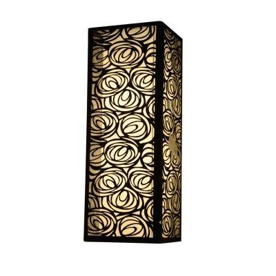 Arandela Bella Iluminação Tecido Metal Linear Preto Quadrado 60x22cm 2 E27 110v 220v Bivolt HU5025BL Saguão Quartos