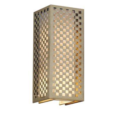 Arandela Bella Iluminação Tubo Quadrado Tecido Metal Bege 42x17cm 2 E27 110v 220v Bivolt HU5027AM Corredores Saguão
