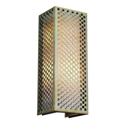 Arandela Bella Iluminação Tubo Quadrado Tecido Metal Bege 60x22cm 2 E27 110v 220v Bivolt HU5027AL Corredores Saguão