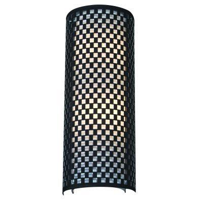 Arandela Bella Iluminação Tubo Linear Metal Tecido Preto Branco 60x23cm 2 E27 110v 220v Bivolt HU5030BL Saguão Sala Estar