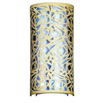 Arandela Bella Iluminação Linear 1/2 Cilindro Metal Tecido Bege 42x20cm 2 E27 110v 220v Bivolt HU5028AM Saguão Sala Estar