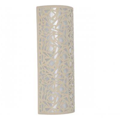 Arandela Bella Iluminação Linear 1/2 Cilindro Metal Tecido Bege 60x23cm 2 E27 110v 220v Bivolt HU5028AL Saguão Sala Estar
