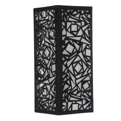 Arandela Bella Iluminação Linear Tecido Metal Preto Quadrado 22x17cm 1 E27 110v 220v Bivolt HU5026B Quartos Saguão