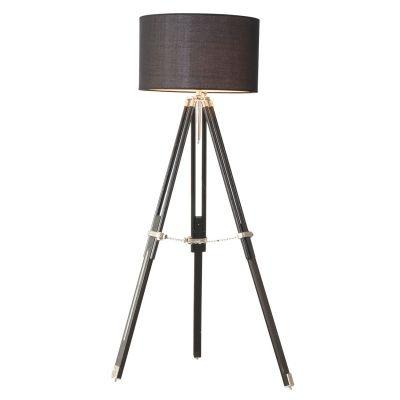 Coluna Bella Iluminação Luminária de Chão Tripé Metal Madeira Preto 160x50cm 1 E27 110v 220v Bivolt EA006 Sala Estar Quartos