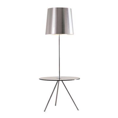 Luminária Bella Iluminação de Chão Cromo Metal Cupula Vidro 170x70cm 3 E27 110v 220v Bivolt HO117C Sala Estar Quartos