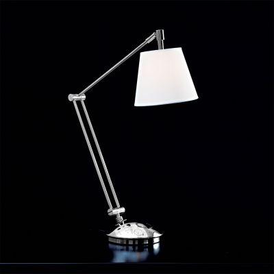 Luminária Bella Iluminação Mesa Articulada Metal Cromo Cupula Branca Ø80cm 1 G9 Halopin LI2248C Mesa Jantar  Balcões