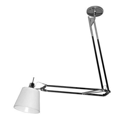 Luminária Bella Iluminação Scope Articulável Cromo Branco 80x62cm 1 E27 40W 110v 220v Bivolt HU1002C Quartos Balcões